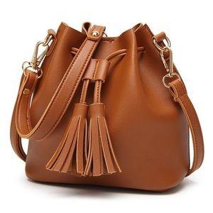 Tan Tassel Bucket Bag